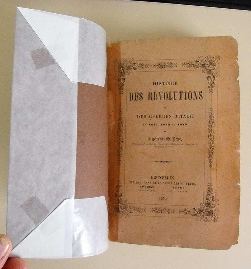HISTOIRE DES REVOLUTIONS ET DES GUERRES D'ITALIE en 1847, 1848 et 1849
